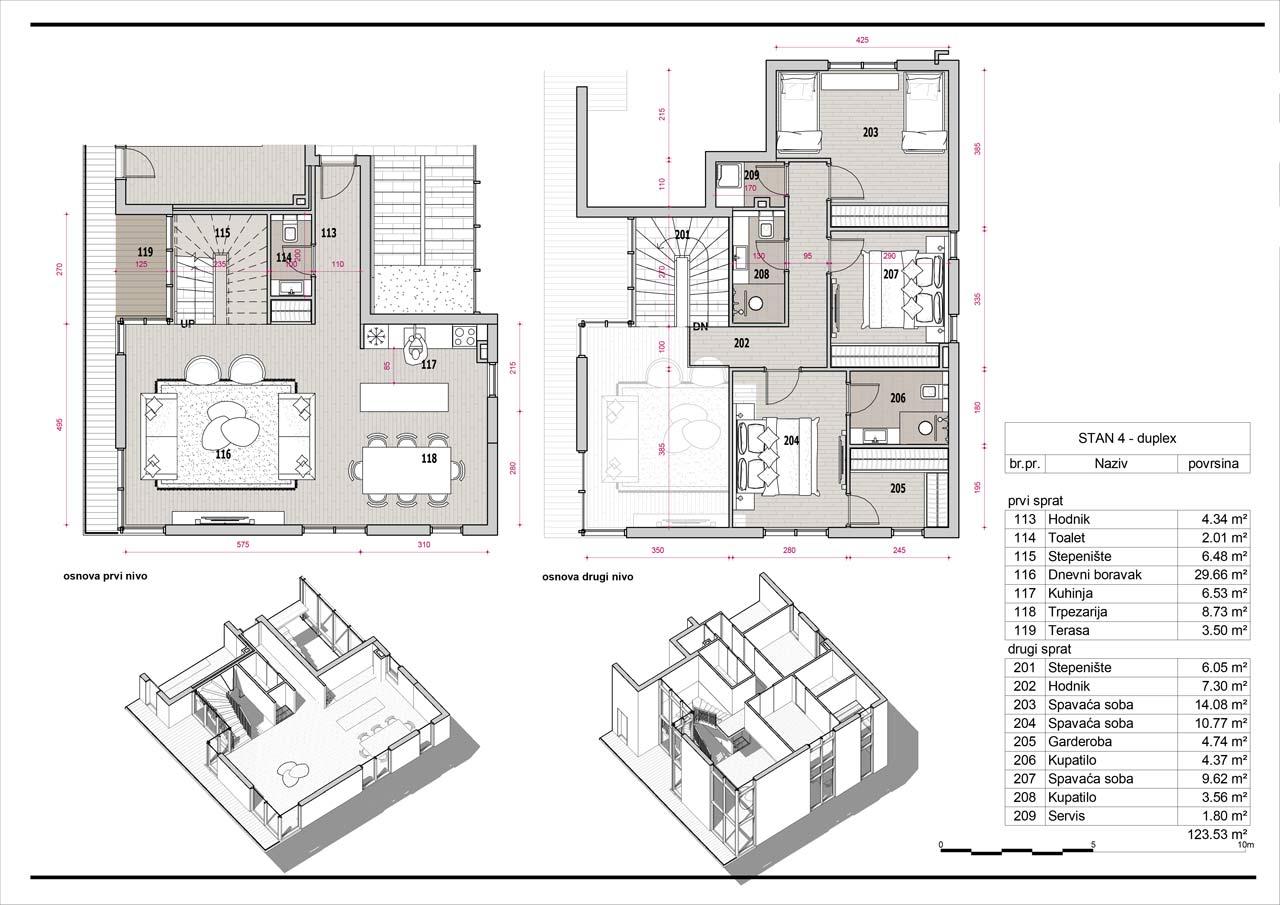 Ponuda stanova, osnova dupleksa u Tolosima, The Residence stambeni objekat